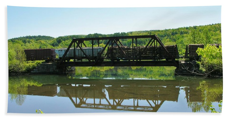 Reflection Beach Towel featuring the photograph Train And Trestle by Sherman Perry