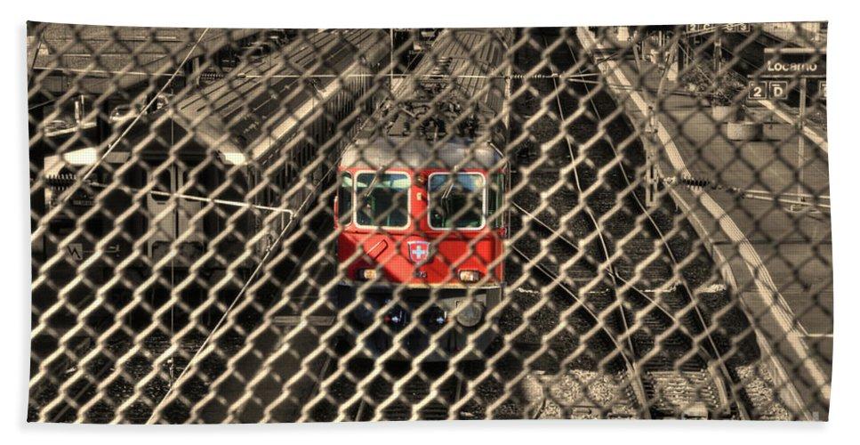 Train Beach Towel featuring the photograph Train Behind A Fence by Mats Silvan