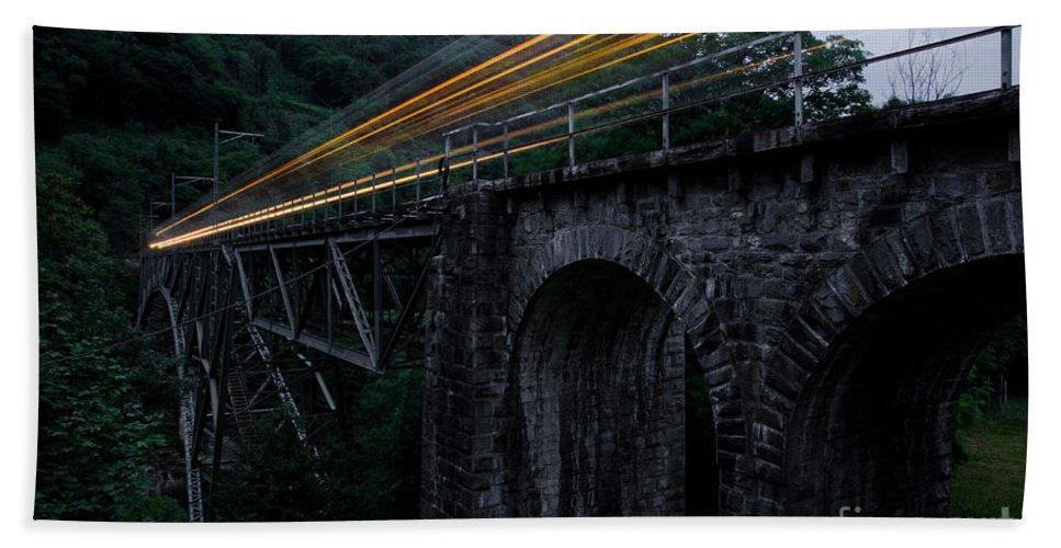 Train Beach Towel featuring the photograph Train Lights by Mats Silvan