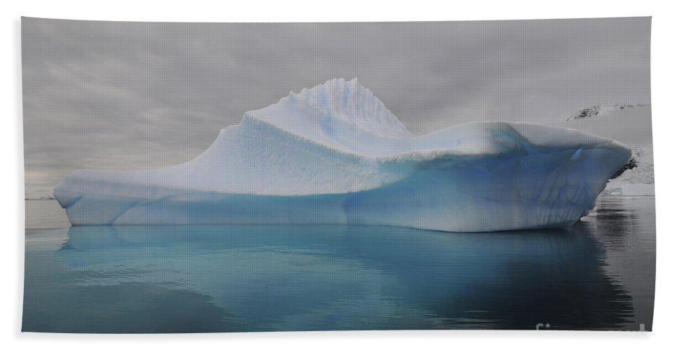 Antarctica Beach Towel featuring the photograph Translucent Blue Iceberg Reflection by Mathieu Meur