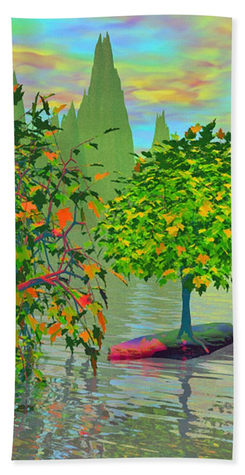 Trees Beach Towel featuring the painting Trees On Rocks In A Lake by Susanna Katherine