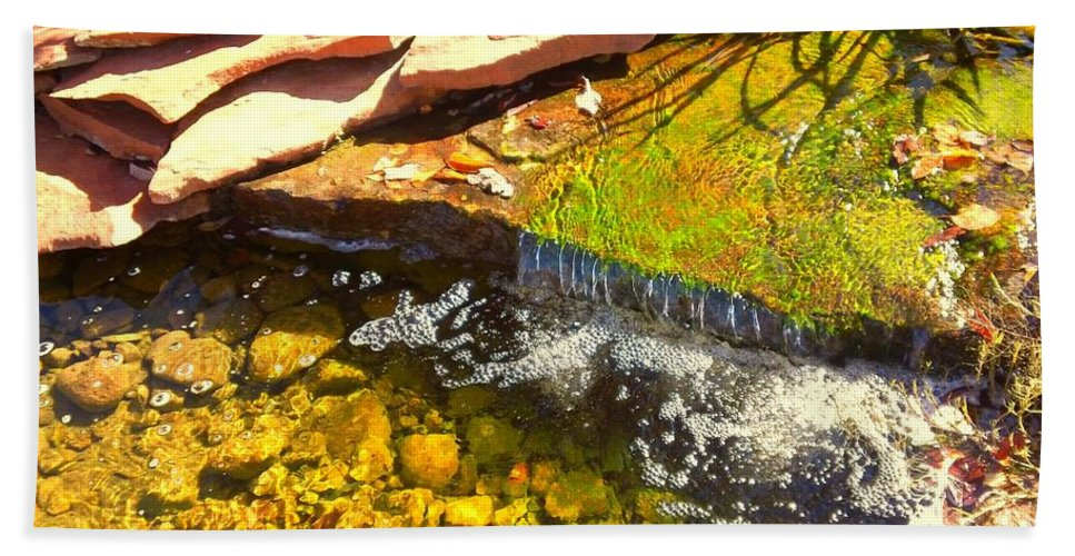 Trickle Waterfall Beach Towel featuring the photograph Trickle Waterfall by Usha Shantharam