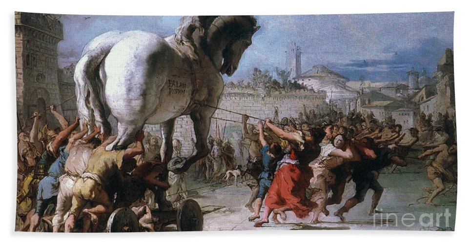 Ancient Beach Towel featuring the photograph Trojan Horse by Granger