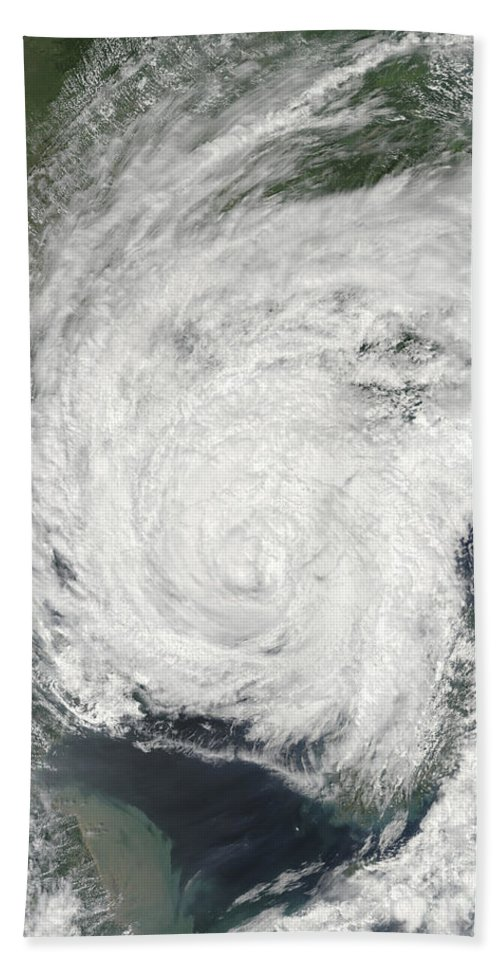 Korean Peninsula Beach Towel featuring the photograph Tropical Storm Muifa Over China by Stocktrek Images