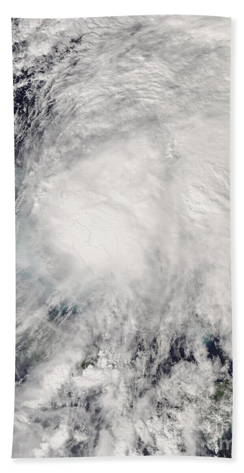 Bahamas Beach Towel featuring the photograph Tropical Storm Noel Over The Bahamas by Stocktrek Images