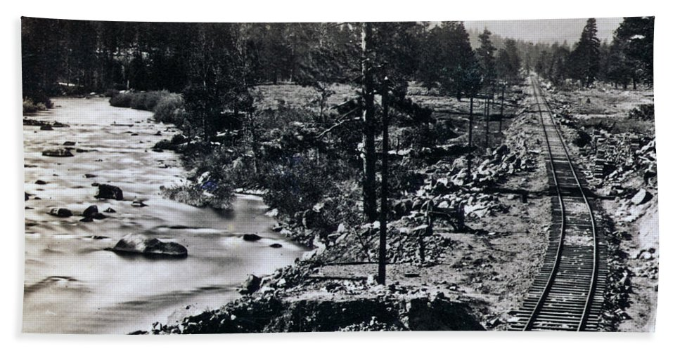 Truckee Beach Towel featuring the photograph Truckee River - California Looking Toward Donner Lake - C 1865 by International Images