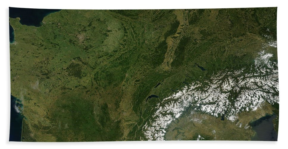 Italy Beach Towel featuring the photograph True-color Satellite View Of France by Stocktrek Images