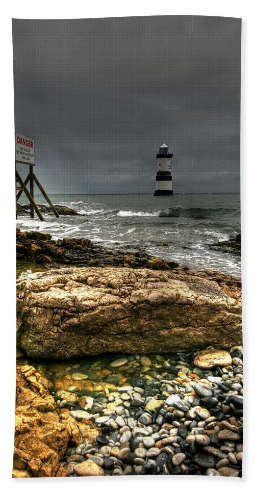1838 Beach Towel featuring the photograph Trwyn Du Lighthouse by Adrian Evans
