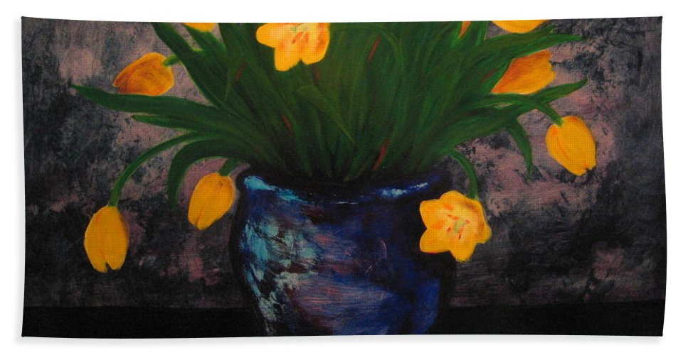 Tulips Beach Towel featuring the painting Tulips In Blue by Jason Reinhardt