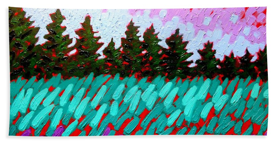 Landscape Beach Towel featuring the painting Turquoise Field by John Nolan