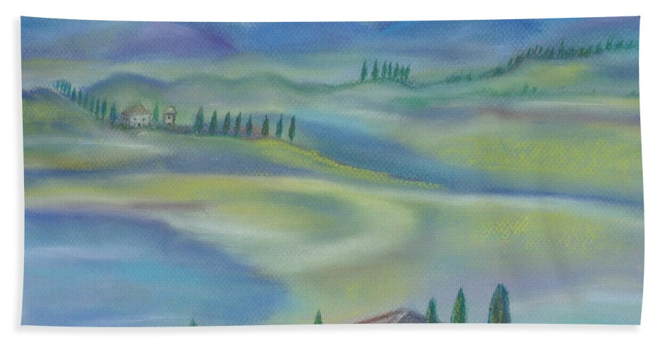 Tuscany Beach Towel featuring the pastel Tuscan Vista by Julie Brugh Riffey