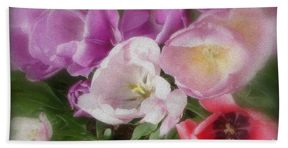 Tulips Beach Towel featuring the photograph Tussle by Priscilla Richardson