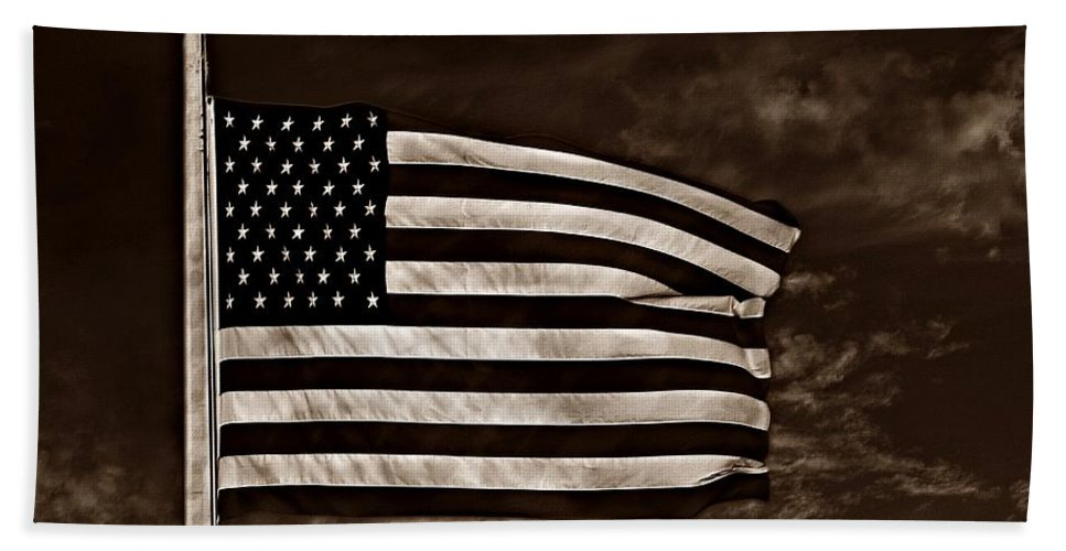 Flag Beach Towel featuring the photograph Twilight's Last Gleaming S by David Dehner