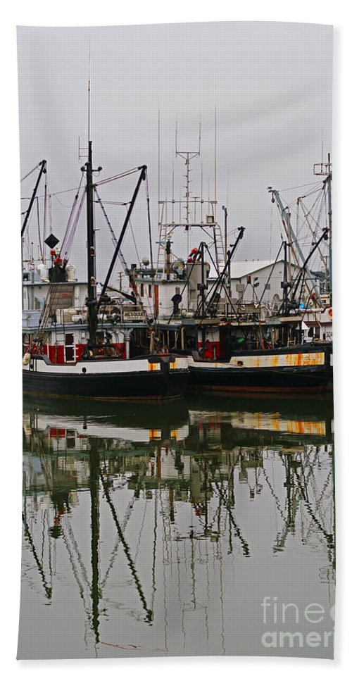 Fishing Boats Beach Towel featuring the photograph Twin Fishing Boats by Randy Harris