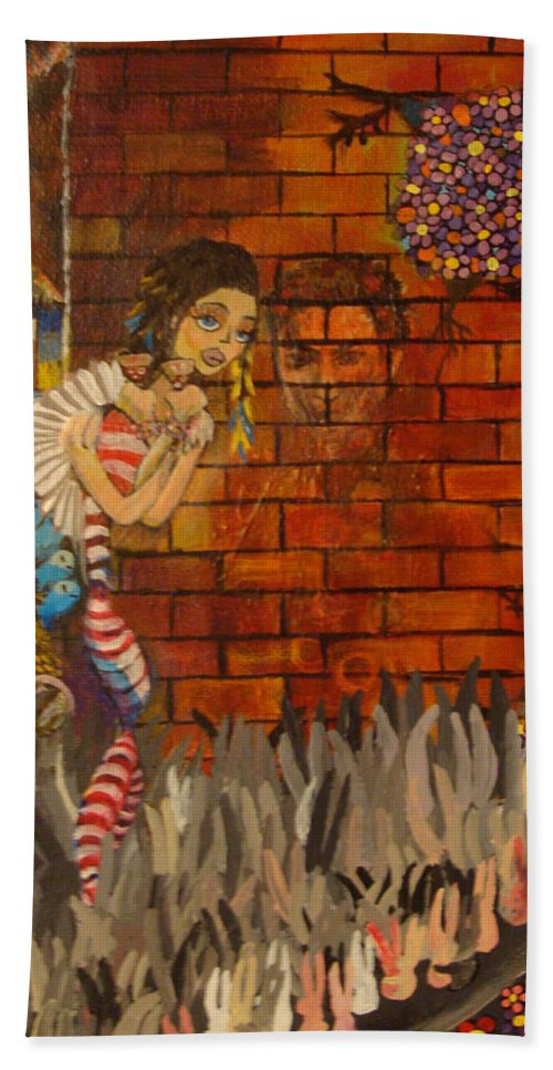 Surreal Beach Towel featuring the painting Twisted And Empty by Mindy Huntress
