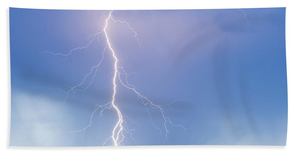 Lightning Beach Towel featuring the photograph Twisted Lightning Strike Colorado Rocky Mountains by James BO Insogna