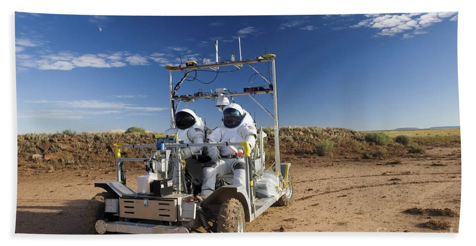 Activity Beach Towel featuring the photograph Two Astronauts Take A Ride On Scout by Stocktrek Images