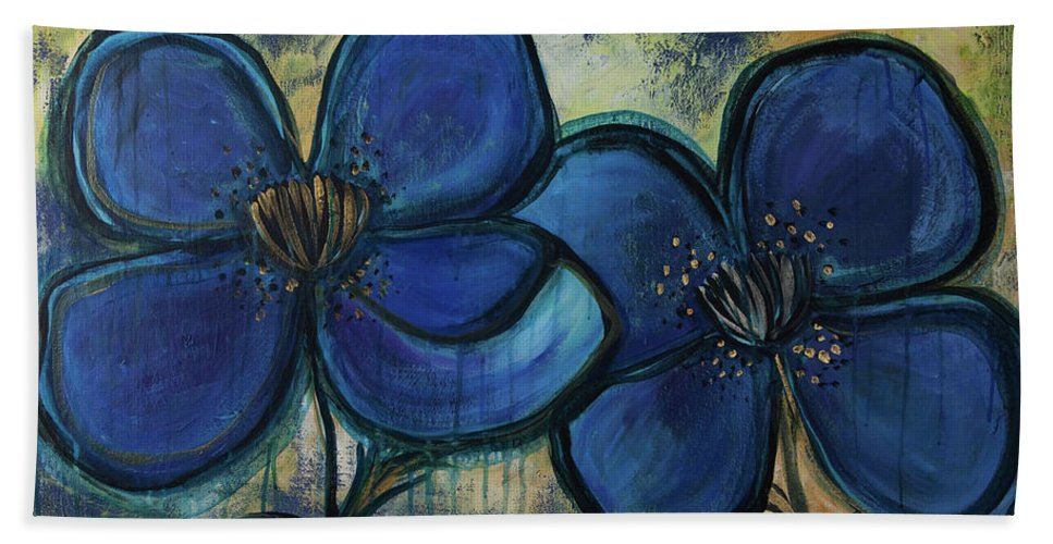 Poppies Beach Towel featuring the painting Two Blue Poppies by Laurie Maves ART