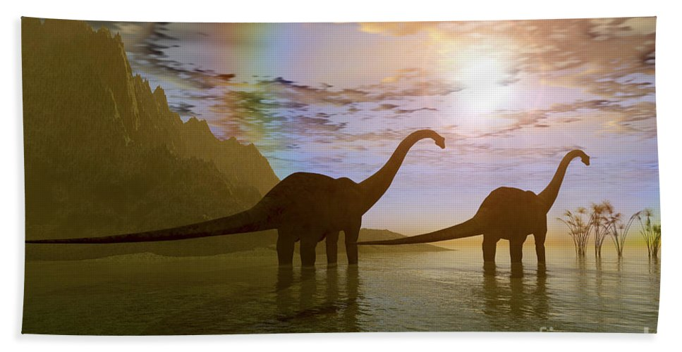 Diplodocus Beach Towel featuring the digital art Two Diplodocus Dinosaurs Wade by Corey Ford