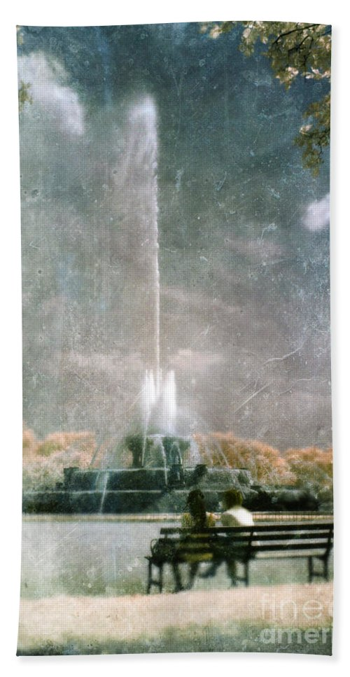Two People Beach Towel featuring the photograph Two People By Buckingham Fountain by Jill Battaglia