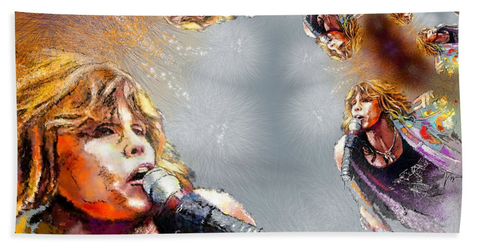 Music Beach Towel featuring the painting Tyler Mania by Miki De Goodaboom