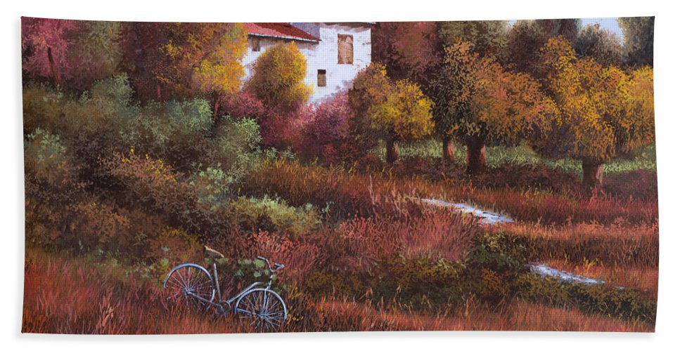 Bike.wood Beach Towel featuring the painting Una Bicicletta Nel Bosco by Guido Borelli