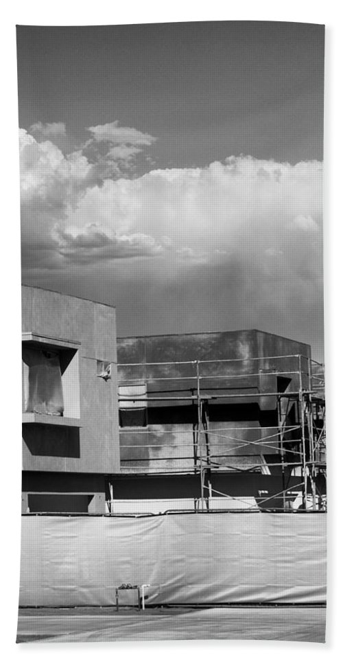 Morrison Beach Towel featuring the photograph Under Construction Bw Palm Springs by William Dey