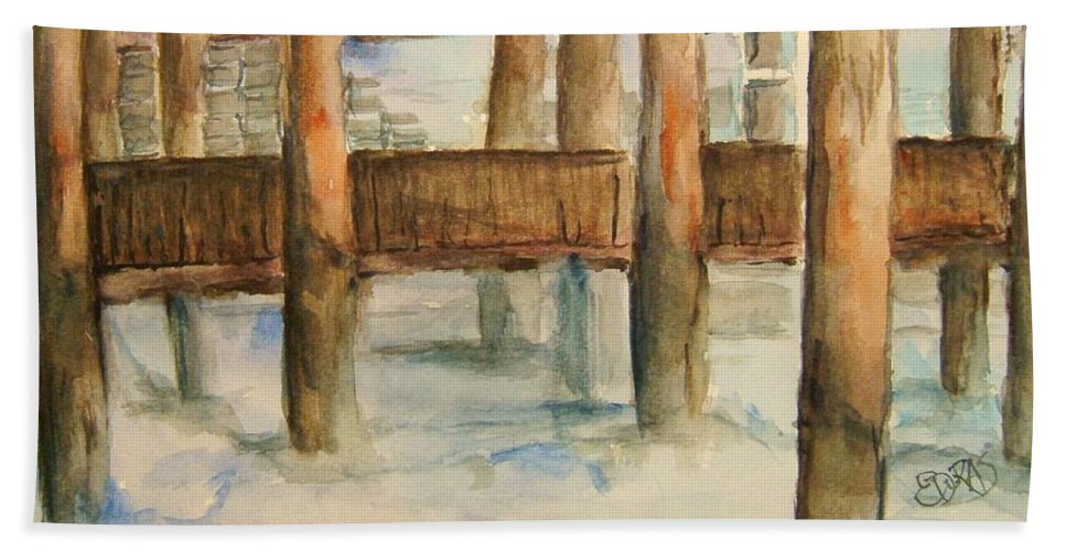 Dock Beach Towel featuring the painting Under The Docks by Elaine Duras
