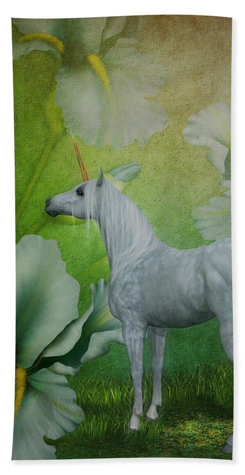 Unicorns Beach Towel featuring the digital art Unicorn And Lilies by Smilin Eyes Treasures