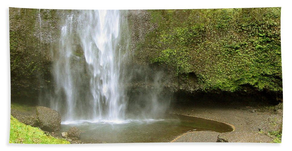 Waterfall Beach Towel featuring the photograph Upper Cascade Pool Multnomah Falls Or by Julia Springer