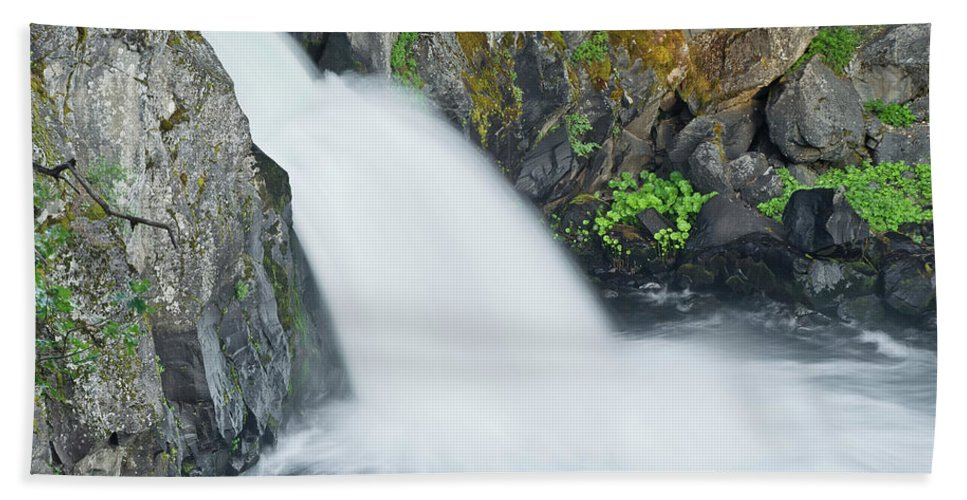 Waterfall Beach Towel featuring the photograph Upper Mccloud Falls 2 by Greg Nyquist