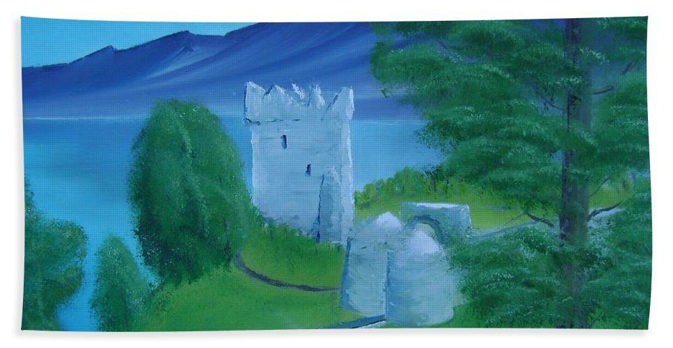 Painting Beach Towel featuring the painting Urquhart Castle by Charles and Melisa Morrison
