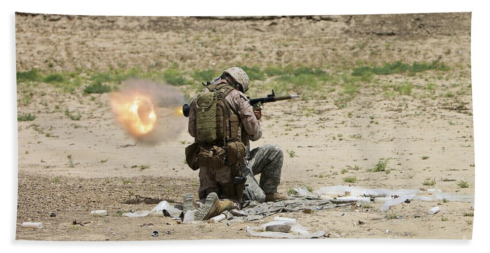 Afghanistan Beach Towel featuring the photograph U.s. Army Soldier Fires by Terry Moore