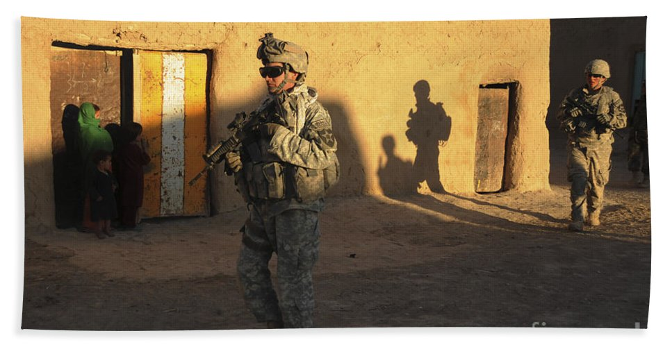 Afghanistan Beach Towel featuring the photograph U.s. Army Soldiers Conduct A Dismounted by Stocktrek Images