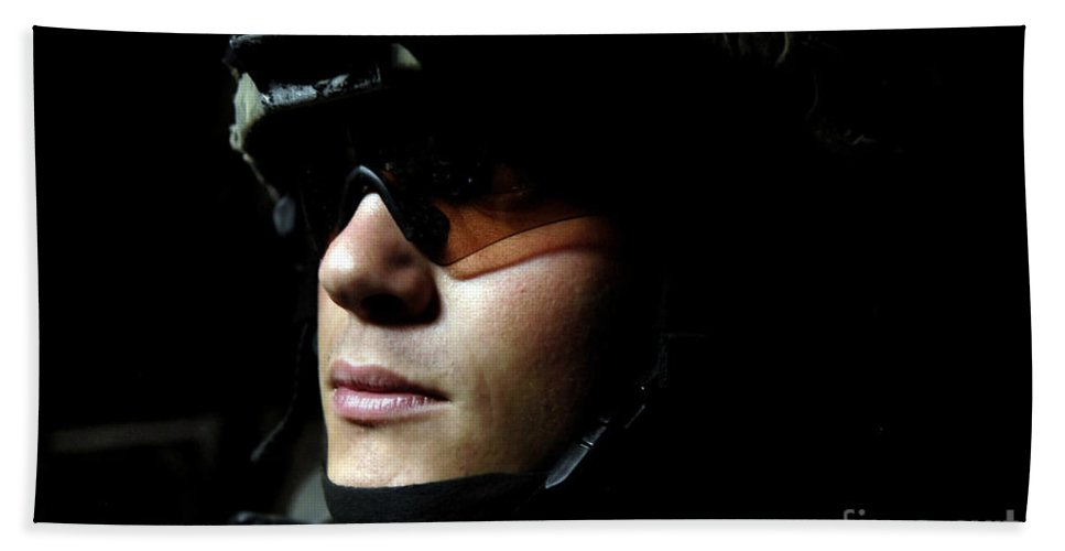 Adults Only Beach Towel featuring the photograph U.s. Army Specialist Waits To Dismount by Stocktrek Images