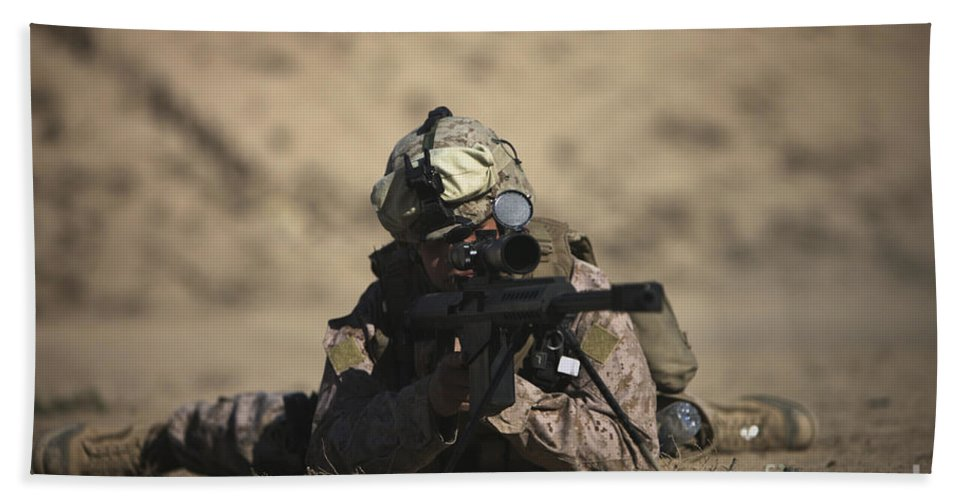 Sniper Beach Towel featuring the photograph U.s. Marine Sights In A Barrett M82a1 by Terry Moore