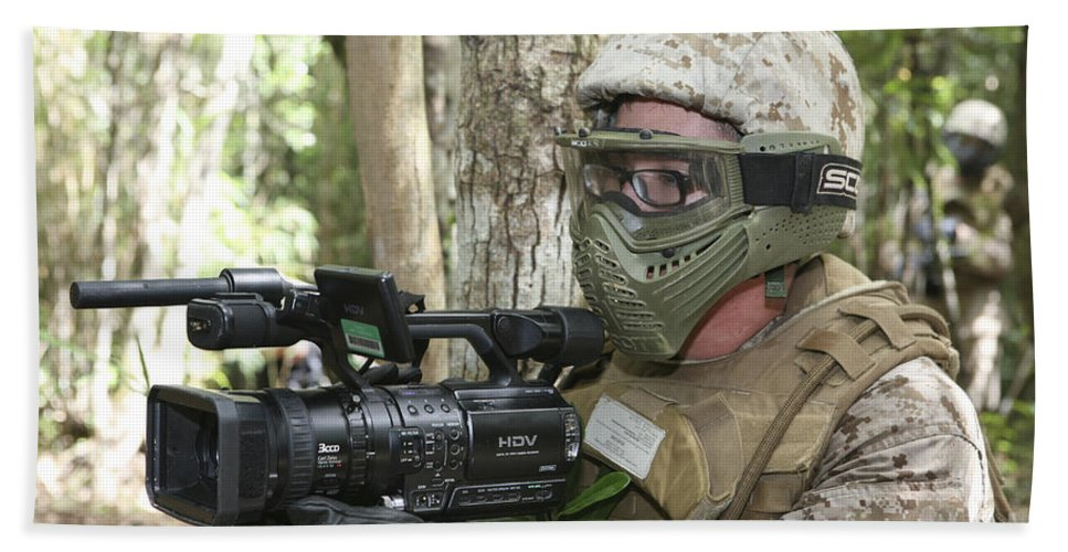 Videotaping Beach Towel featuring the photograph U.s. Marine Videotapes Combat Exercises by Stocktrek Images