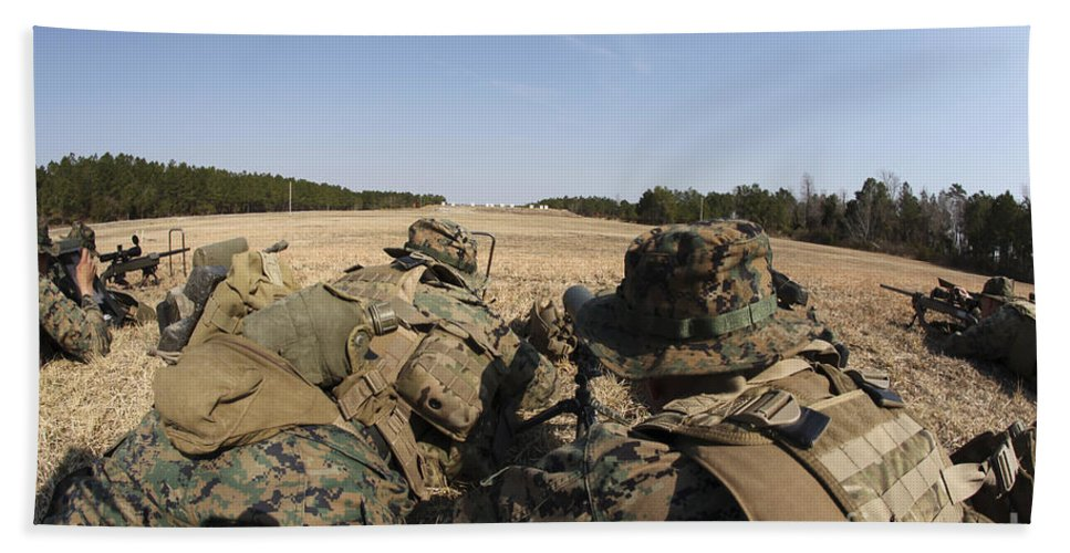 Sniper Rifles Beach Towel featuring the photograph U.s. Marines Participate In A Known by Stocktrek Images