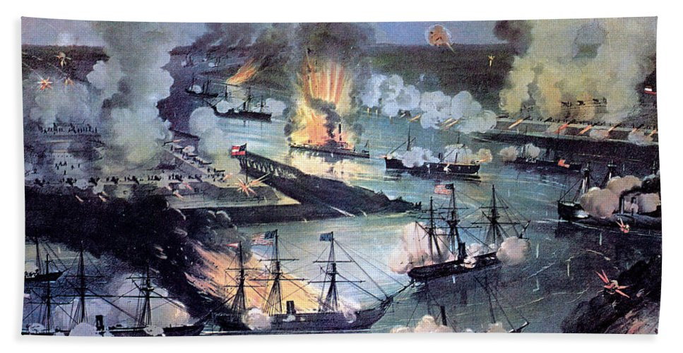 History Beach Towel featuring the photograph U.s. Navy Destroys Rebel Gunboats by Photo Researchers