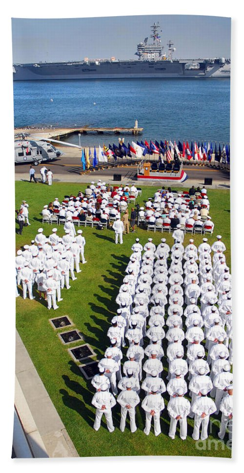 Ceremony Beach Towel featuring the photograph U.s. Navy Sailors Attend An by Stocktrek Images