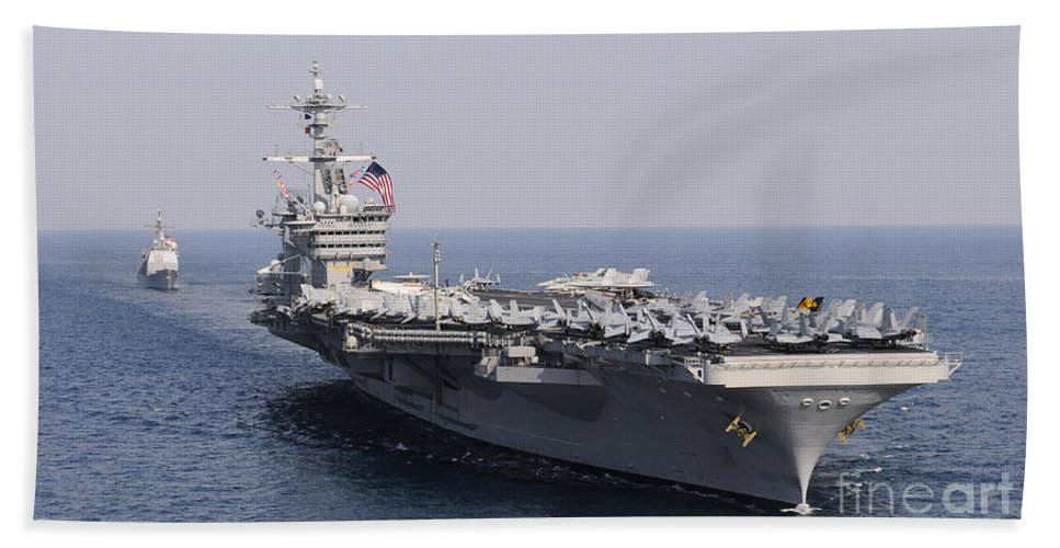 Nimitz Class Beach Towel featuring the photograph Uss Carl Vinson And Uss Bunker Hill by Stocktrek Images