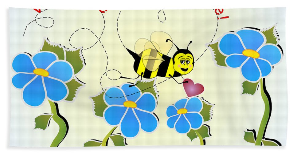 Valentines Beach Towel featuring the digital art Valentine Bee Mine by Susan Kinney