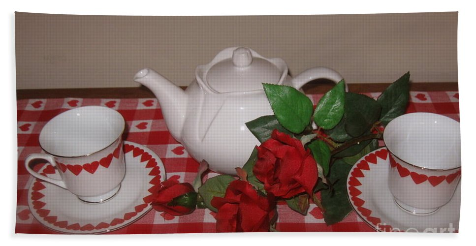 Valentine Tea For Two Beach Towel featuring the photograph Valentine Tea For Two by Nancy Patterson