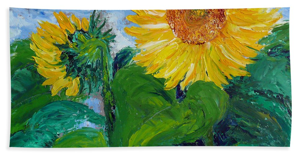 Sunflower Beach Towel featuring the painting Van Gogh Sunflowers by Dee Carpenter
