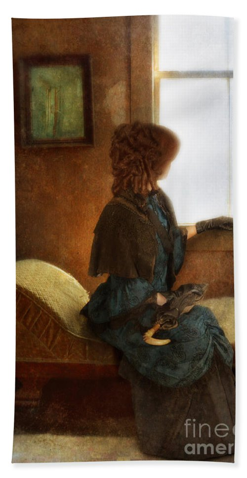 Woman Beach Towel featuring the photograph Victorian Lady Gazing Out The Window by Jill Battaglia