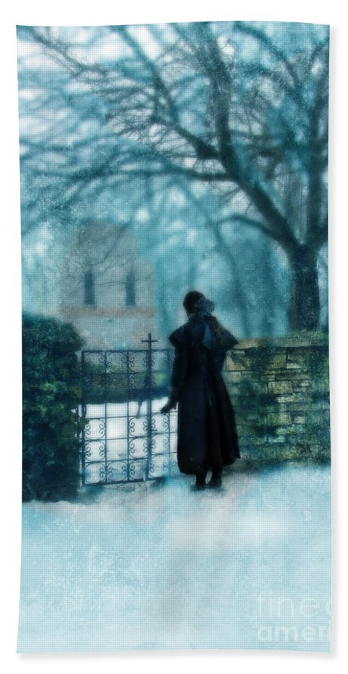 Mystery Beach Towel featuring the photograph Victorian Woman At The Churchyard Gate by Jill Battaglia