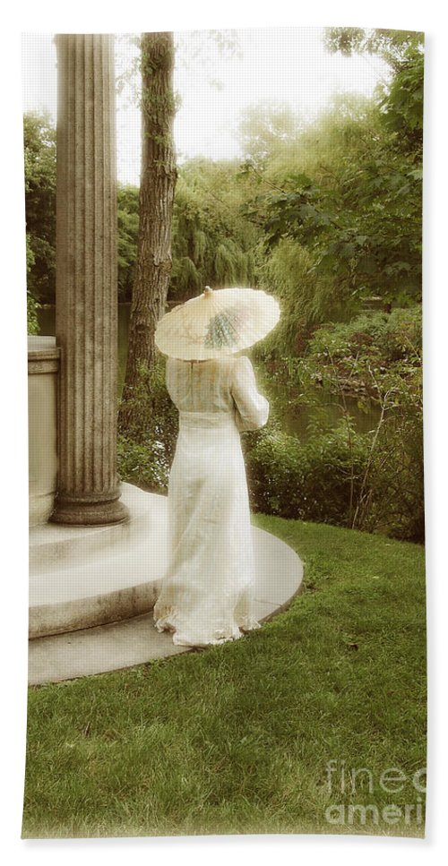 Woman Beach Towel featuring the photograph Victorian Woman In Garden With Parasol by Jill Battaglia