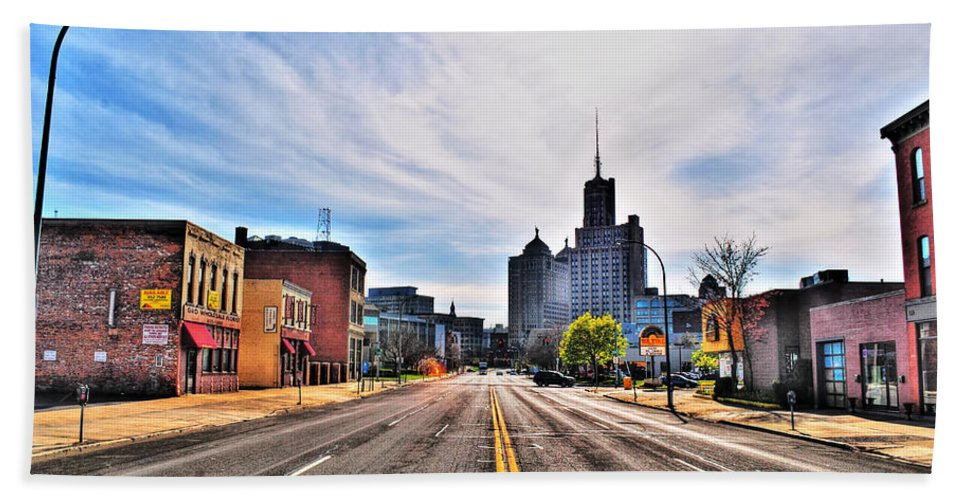 Beach Towel featuring the photograph View Down Broadway Into Downtown Buffalo Ny by Michael Frank Jr