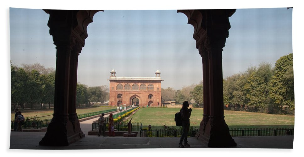 Delhi Beach Towel featuring the photograph View From Inside The Red Fort With Tourist by Ashish Agarwal