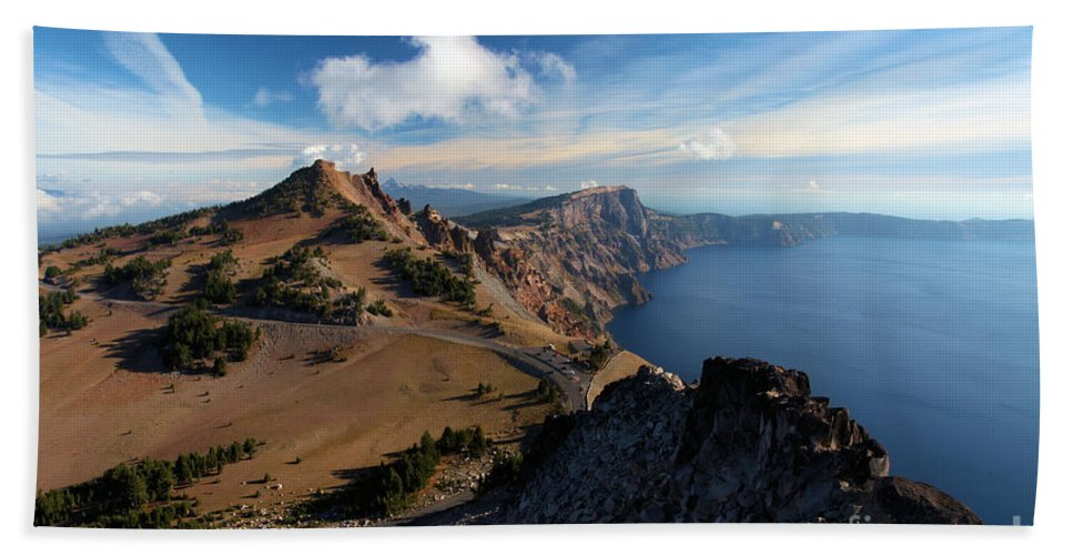 Crater Lake National Park Beach Towel featuring the photograph View From Watchman by Adam Jewell